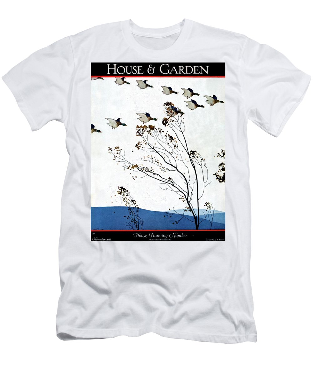 House And Garden Men's T-Shirt (Athletic Fit) featuring the photograph Canadian Geese Over Brown-leafed Trees by Andre E. Marty