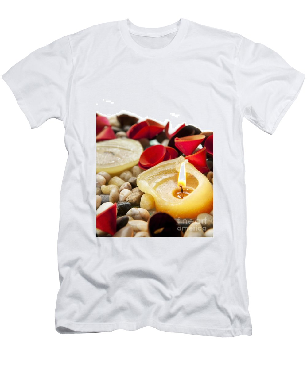 Anniversary Men's T-Shirt (Athletic Fit) featuring the photograph Candle And Petals by Tim Hester