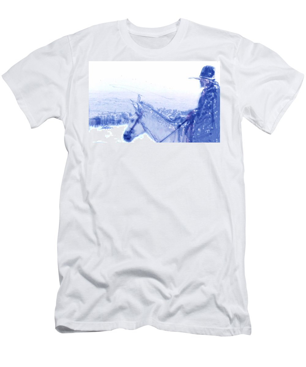 Capt. Call In A Snowstorm T-Shirt featuring the drawing Capt. Call in a Snow Storm by Seth Weaver