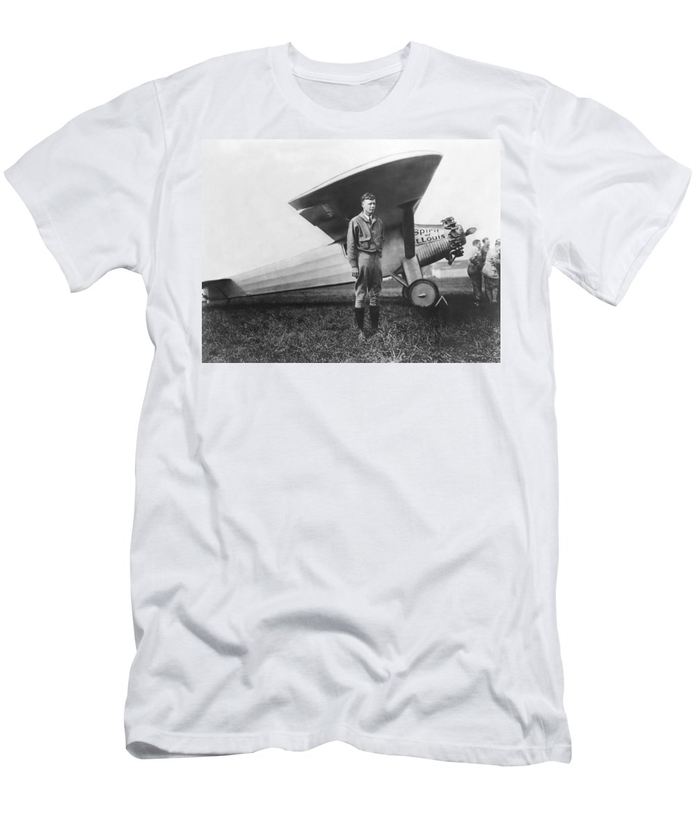 1927 Men's T-Shirt (Athletic Fit) featuring the photograph Captain Charles Lindbergh by Underwood Archives