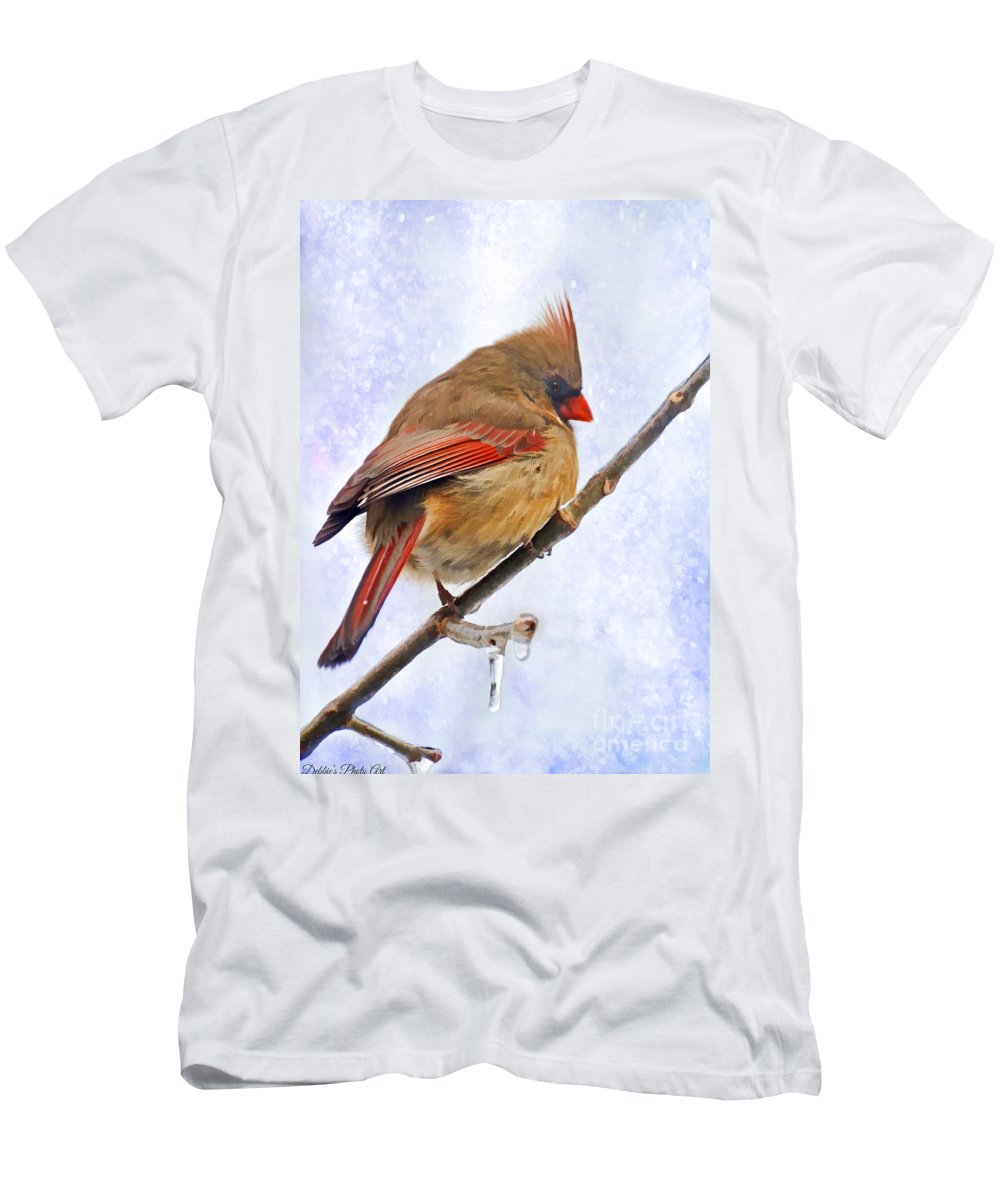 Bird Men's T-Shirt (Athletic Fit) featuring the photograph Cardinal On An Icy Twig - Digital Paint by Debbie Portwood