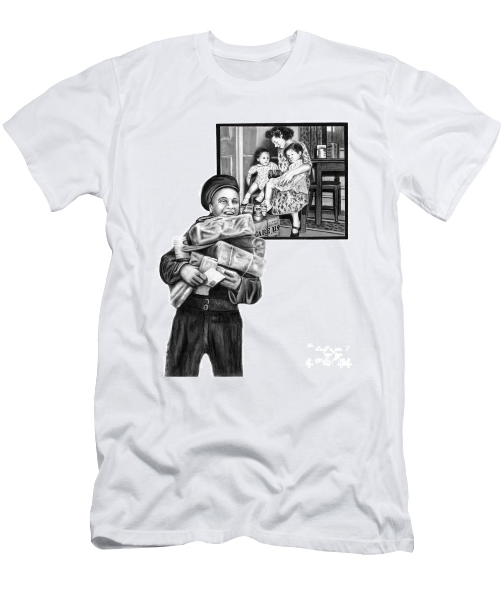 Care Package Men's T-Shirt (Athletic Fit) featuring the drawing Care Package   by Peter Piatt