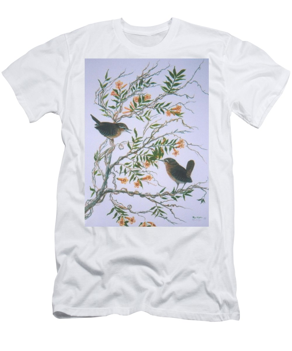 Bird; Flowers Men's T-Shirt (Athletic Fit) featuring the painting Carolina Wren And Jasmine by Ben Kiger
