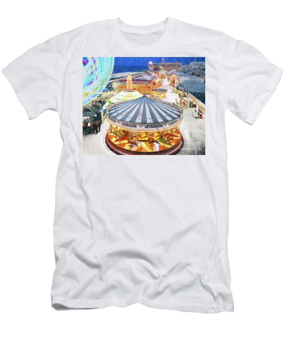 Digital Art Men's T-Shirt (Athletic Fit) featuring the photograph Carousel Waltz by Edmund Nagele