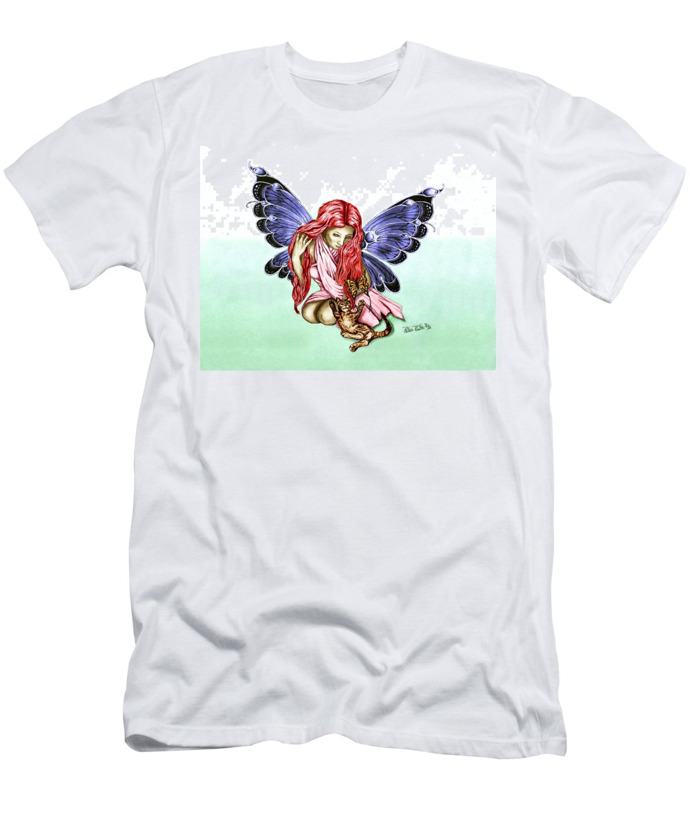 Cat Fairy Men's T-Shirt (Athletic Fit) featuring the drawing Cat Fairy In Blue by Peter Piatt