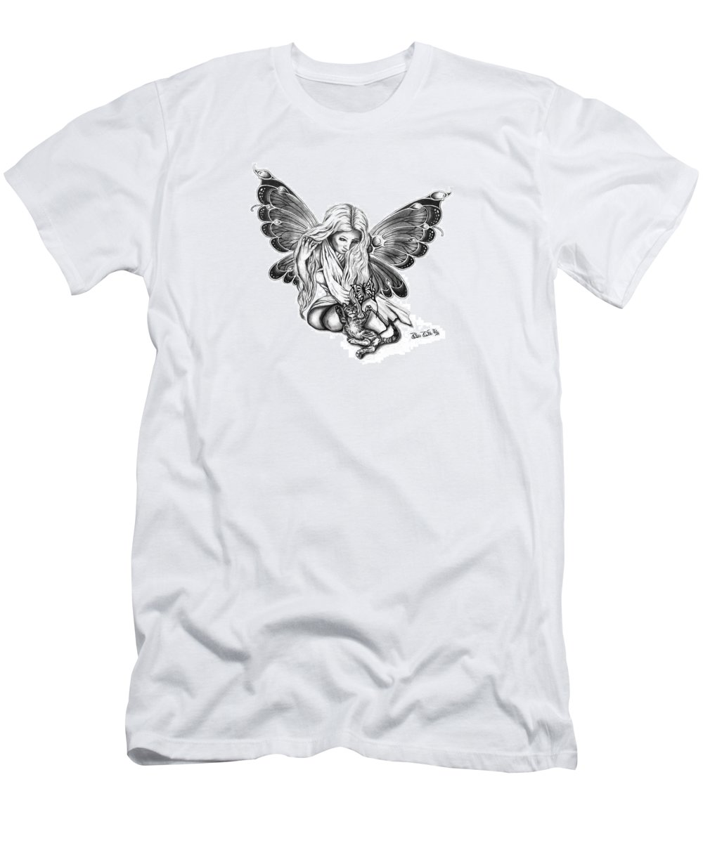 Cat Fairy Men's T-Shirt (Athletic Fit) featuring the drawing Cat Fairy by Peter Piatt