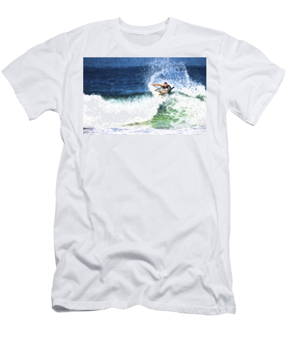 Surfer T-Shirt featuring the photograph Catching a wave by Sheila Smart Fine Art Photography