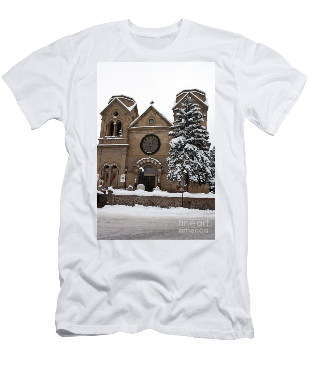 Cathedral Basilica Of St Francis Men's T-Shirt (Athletic Fit) featuring the photograph Cathedral Basilica Of St Francis In Snow by Jason O Watson