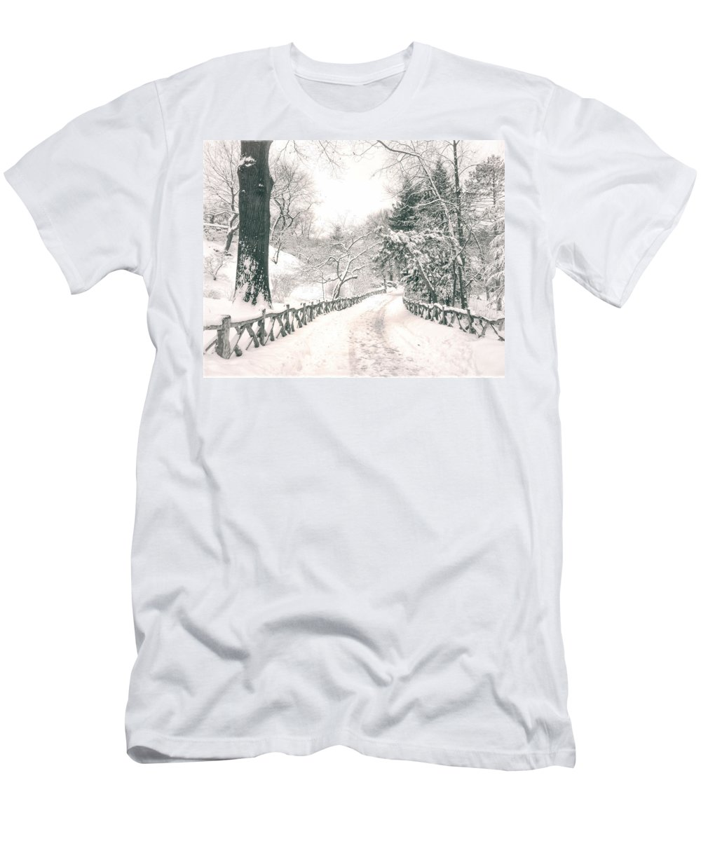 Nyc Men's T-Shirt (Athletic Fit) featuring the photograph Central Park Winter Landscape by Vivienne Gucwa