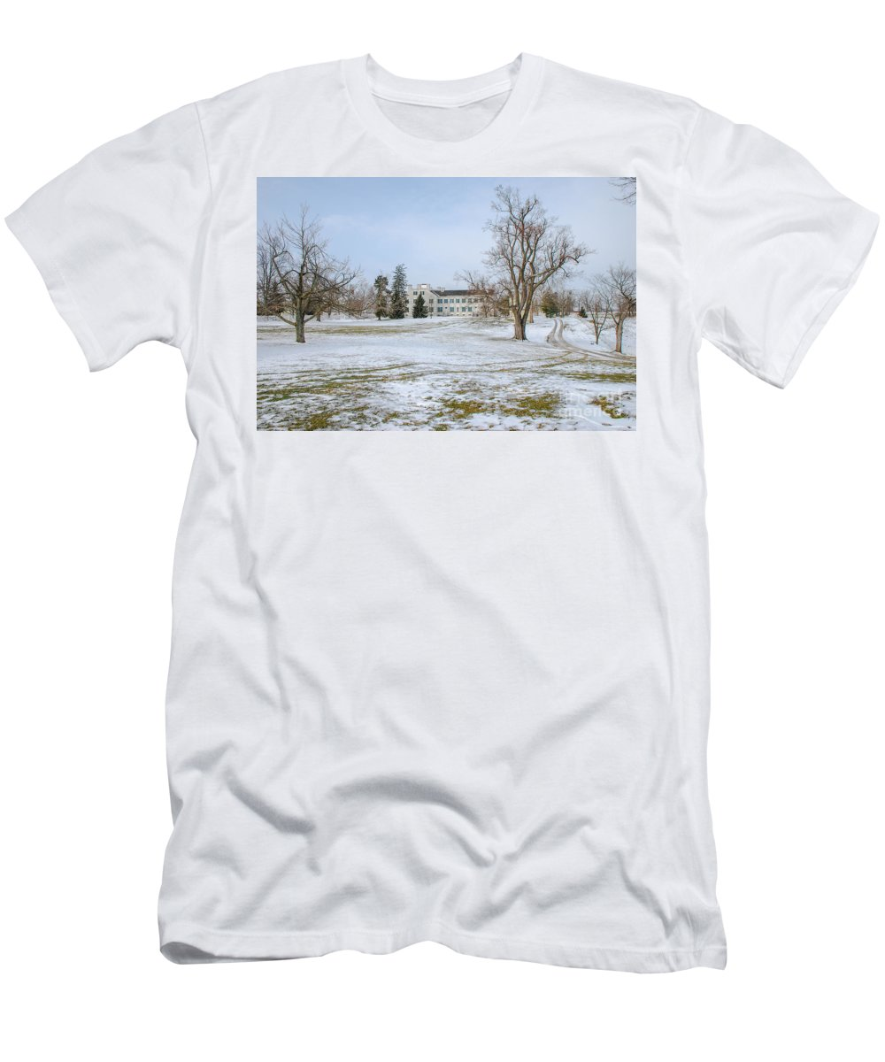 Shaker House Men's T-Shirt (Athletic Fit) featuring the photograph Centre Family Dwelling - Shaker Village by Mary Carol Story