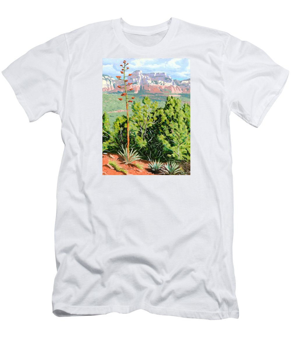 Century Plant Men's T-Shirt (Athletic Fit) featuring the painting Century Plant - Sedona by Steve Simon