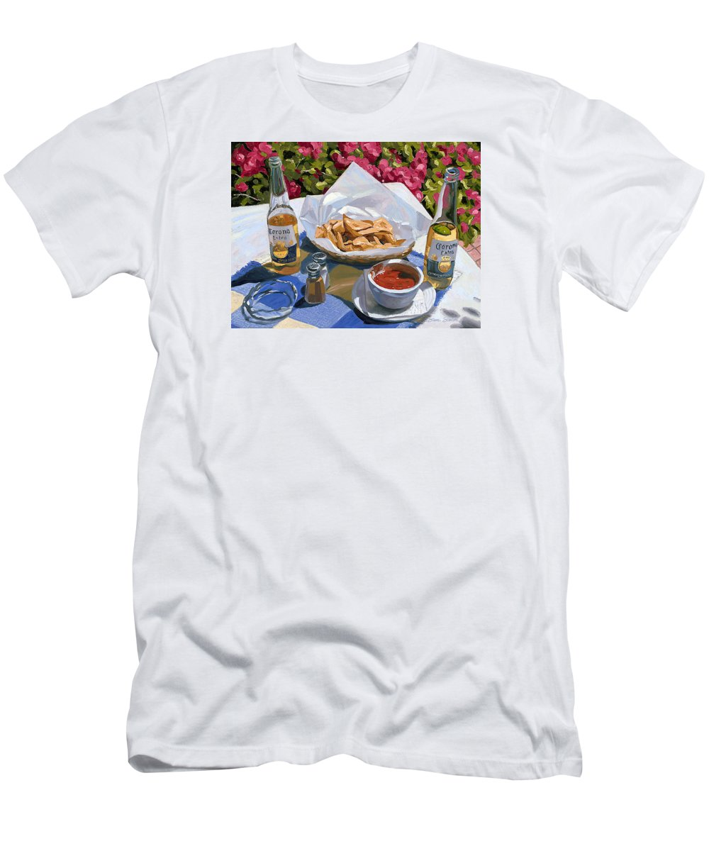Beer Men's T-Shirt (Athletic Fit) featuring the painting Cervezas Y Nachos - Coronas With Nachos by Steve Simon