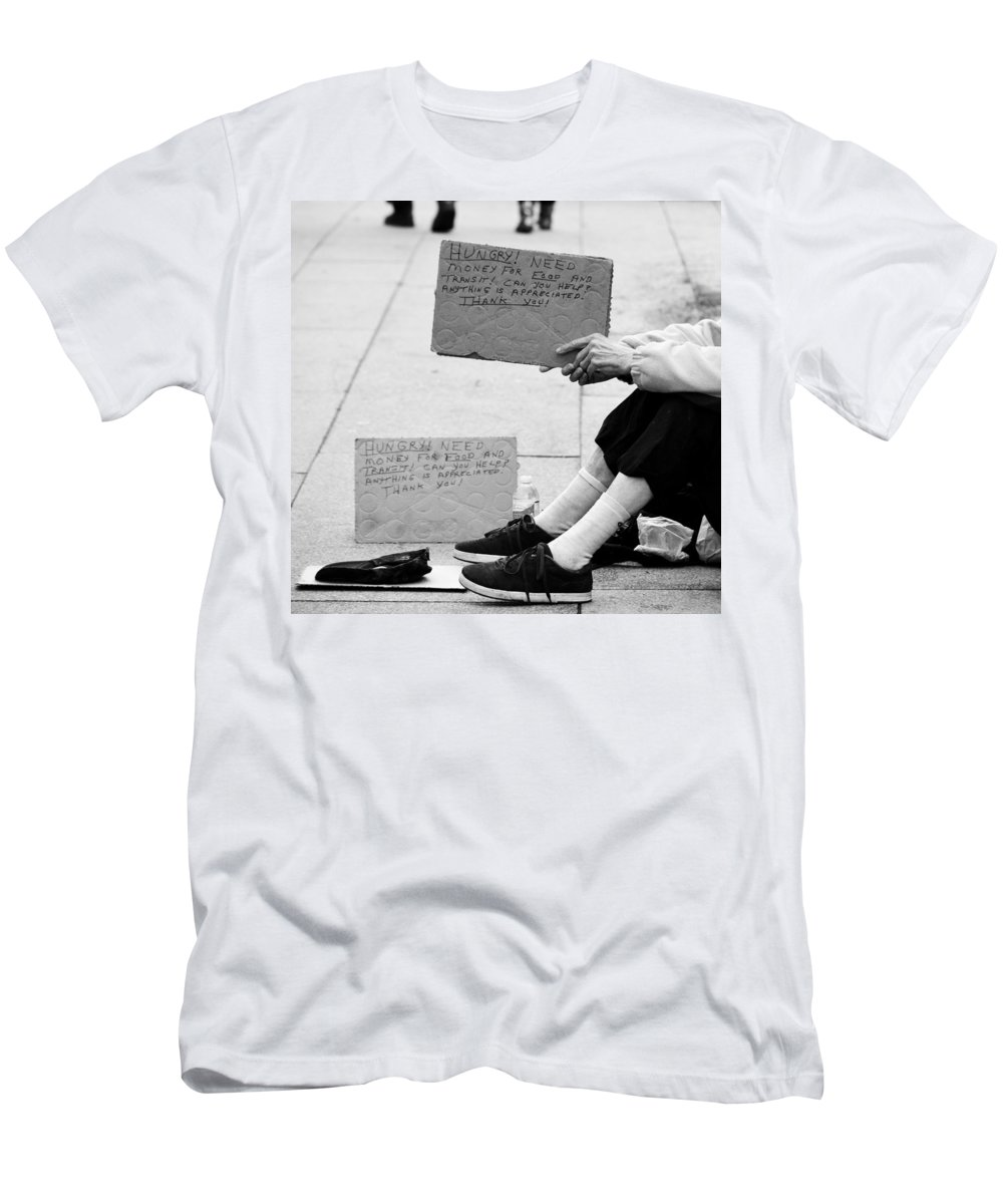 Street Photography Men's T-Shirt (Athletic Fit) featuring the photograph Change In Our Pockets by The Artist Project