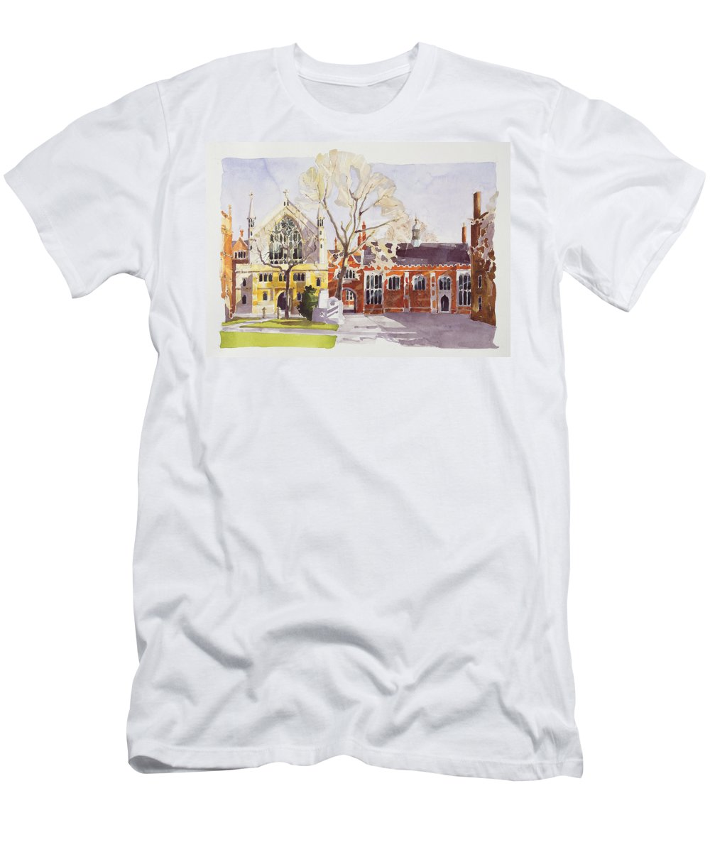 Gothic Architecture Men's T-Shirt (Athletic Fit) featuring the painting Chapel And Hall Lincoln's Inn by Annabel Wilson