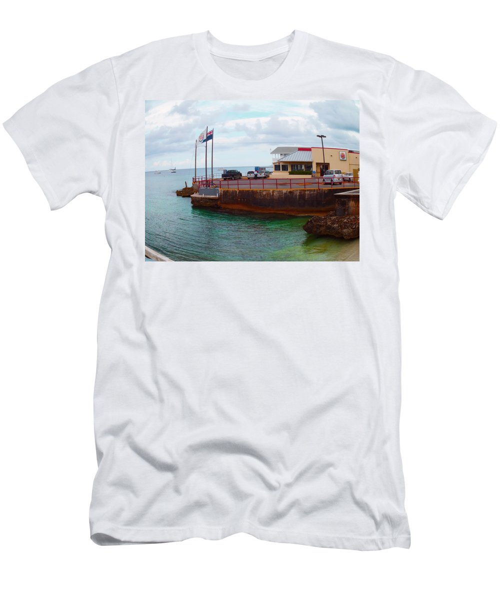 Cayman Islands Men's T-Shirt (Athletic Fit) featuring the photograph Cheese Burger In Paradise by Carey Chen