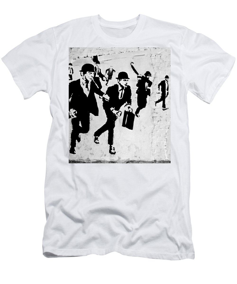Banksy Men's T-Shirt (Athletic Fit) featuring the photograph Chequebook Vandalism by A Rey