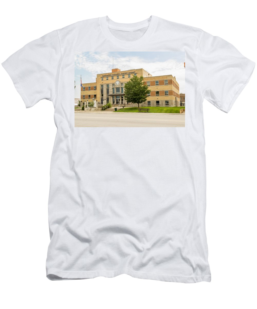 Court Men's T-Shirt (Athletic Fit) featuring the photograph Cherokee County Courthouse 2 by Ken Kobe