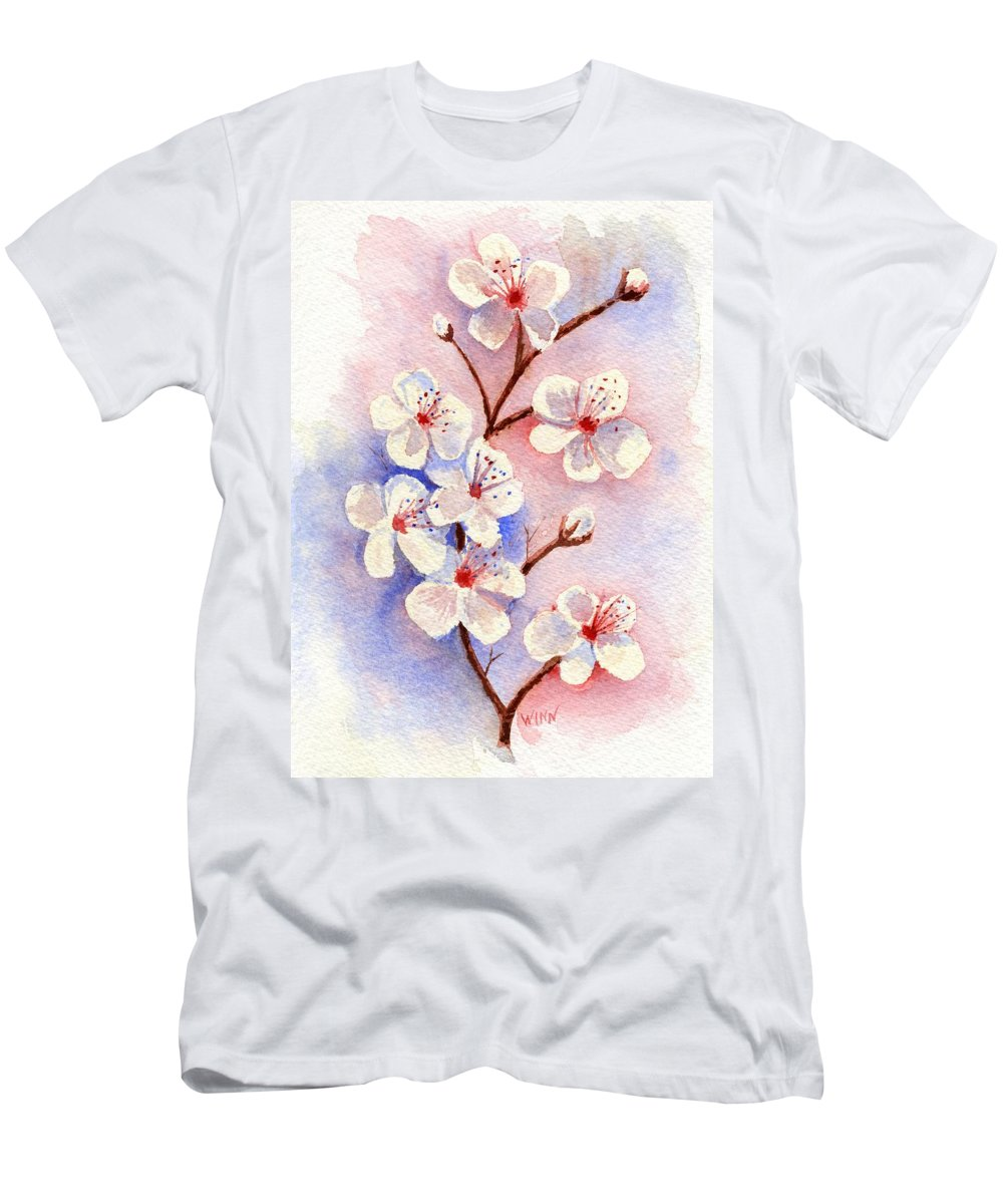 Watercolor Men's T-Shirt (Athletic Fit) featuring the painting Cherry Blossoms by Brett Winn