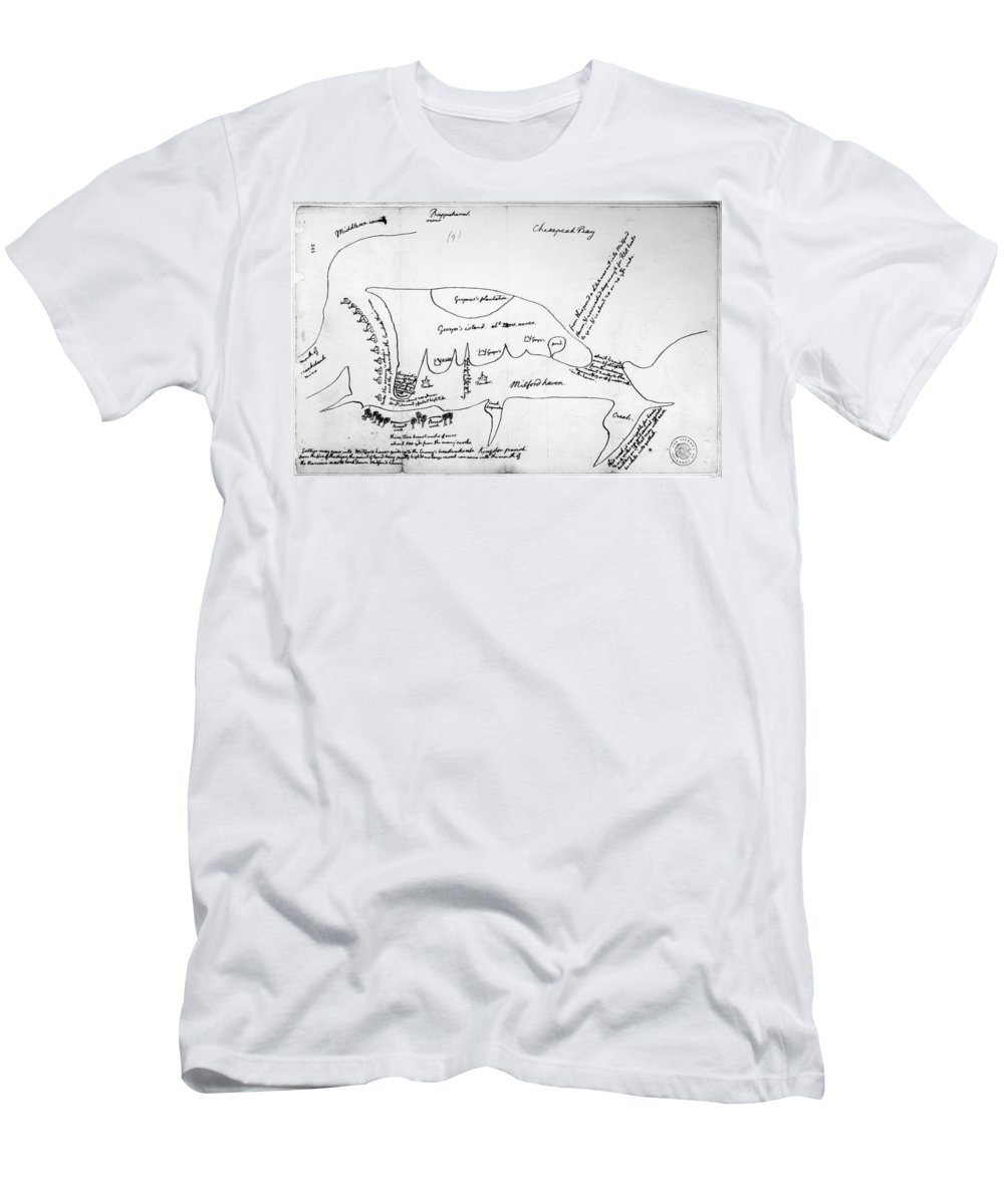1776 Men's T-Shirt (Athletic Fit) featuring the photograph Chesapeake Bay, 1776 by Granger