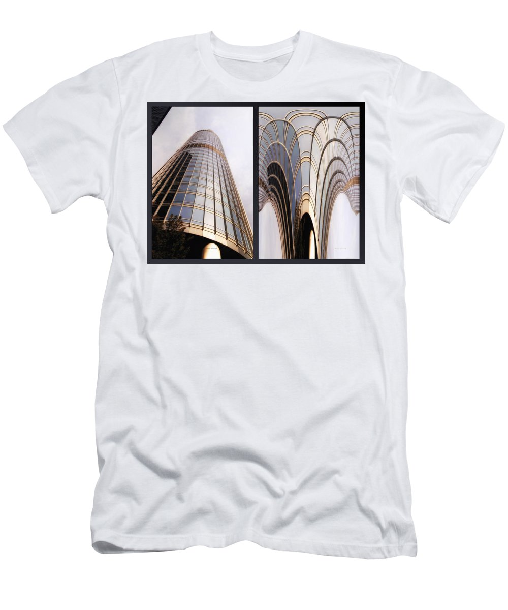 Chicago Men's T-Shirt (Athletic Fit) featuring the photograph Chicago Abstract Before And After Sunrays On Trump Tower 2 Panel by Thomas Woolworth