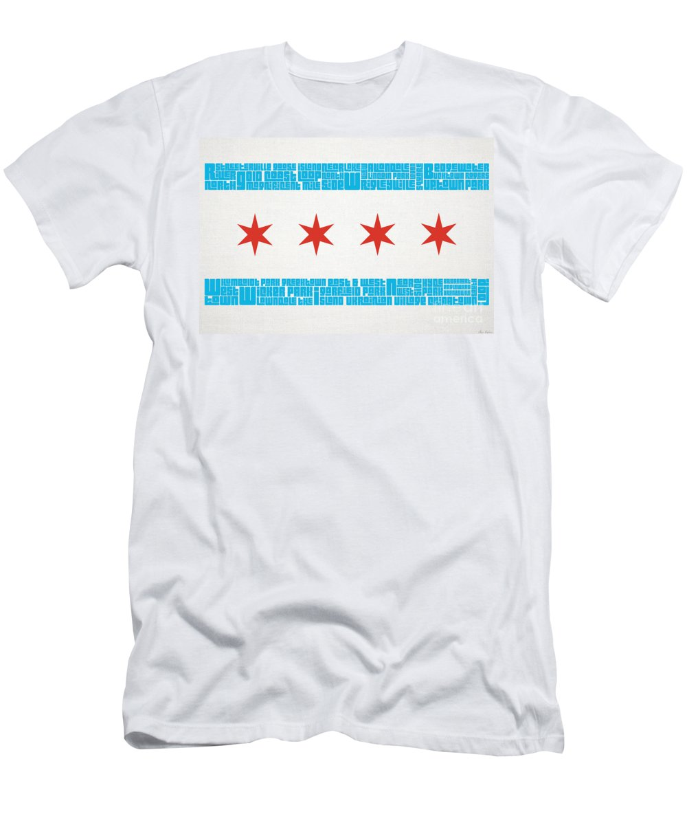 Chicago Flag Neighborhoods T Shirt For Sale By Mike Maher