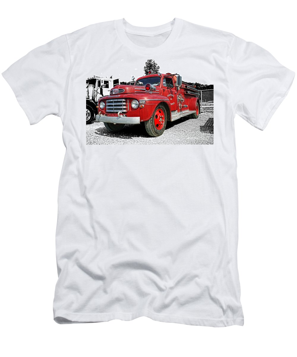 Old Fire Trucks Men's T-Shirt (Athletic Fit) featuring the photograph Chilliwack Fire- Mercury Firetruck by Randy Harris