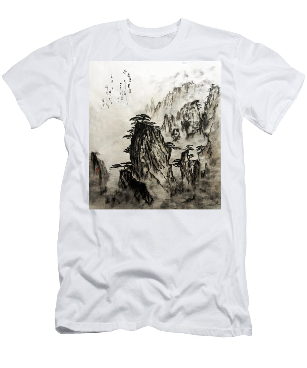 Calm Men's T-Shirt (Athletic Fit) featuring the painting Chinese Mountains With Poem In Ink Brush Calligraphy Of Love Poem by Peter v Quenter