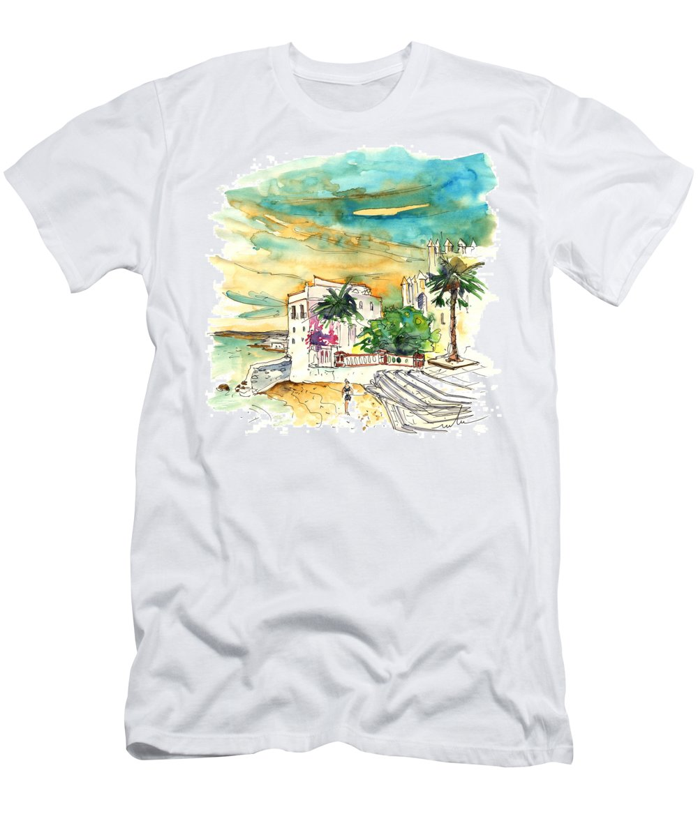 Travel Men's T-Shirt (Athletic Fit) featuring the painting Chipiona Spain 04 by Miki De Goodaboom