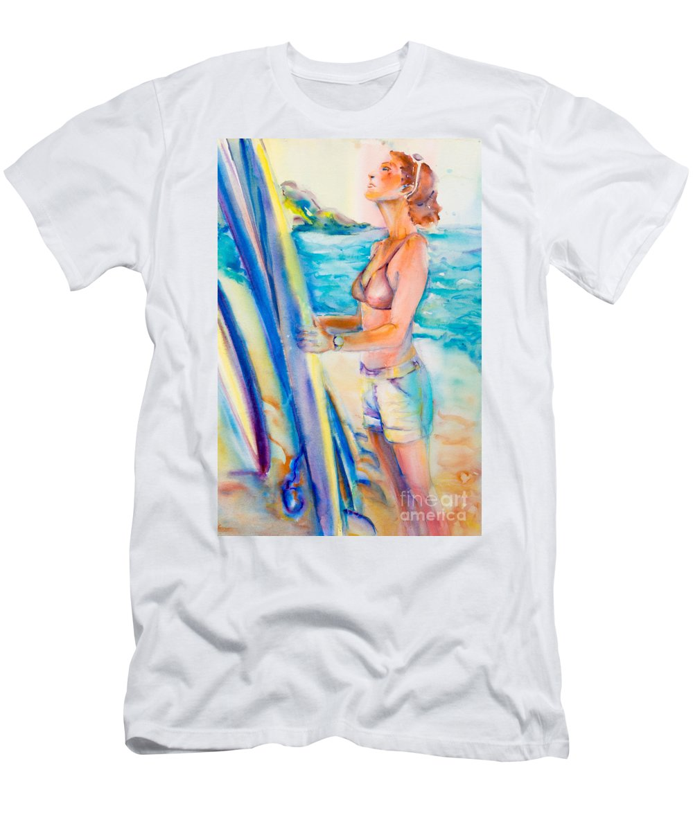 Surfer Men's T-Shirt (Athletic Fit) featuring the painting Choose Well Wahine by Deborah Pence