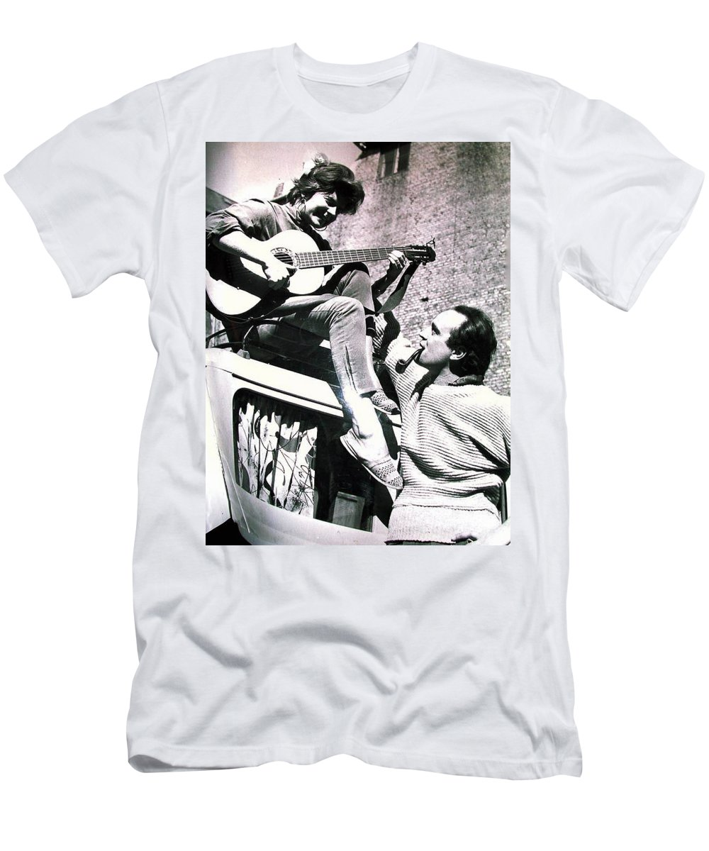 Colette Men's T-Shirt (Athletic Fit) featuring the photograph Chris And Hans On One Of Their Worldtravels by Colette V Hera Guggenheim