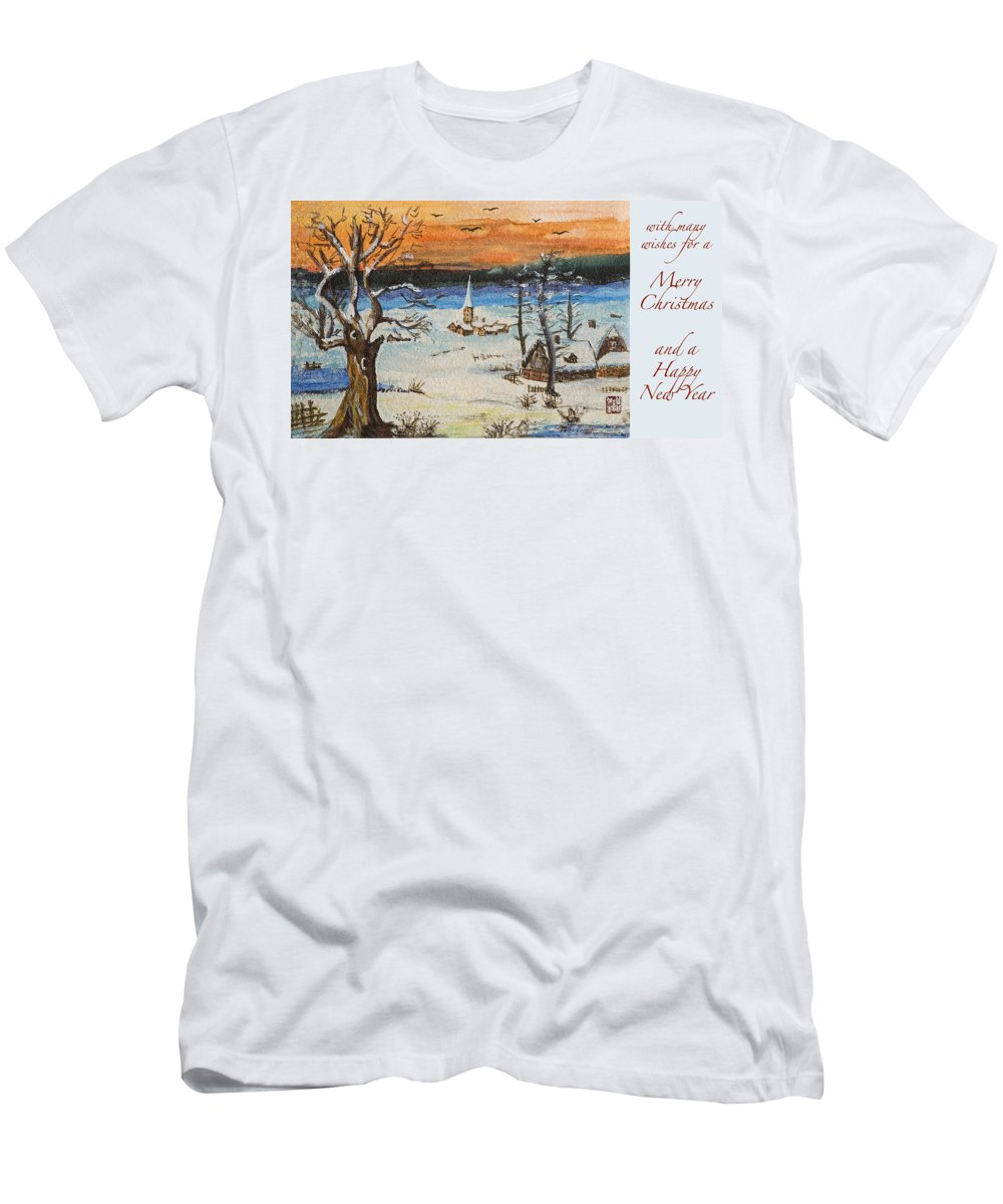 Athletics Men's T-Shirt (Athletic Fit) featuring the painting Christmas Card Painting by Peter v Quenter