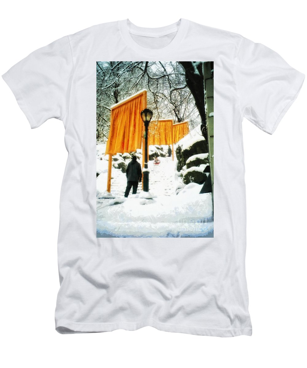 The Gates Men's T-Shirt (Athletic Fit) featuring the photograph Christo - The Gates - Project For Central Park In Snow by Nishanth Gopinathan
