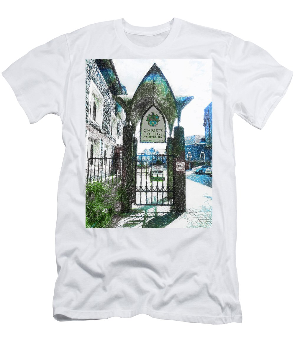 Christ's Men's T-Shirt (Athletic Fit) featuring the photograph Christ's College Canterbury by Steve Taylor