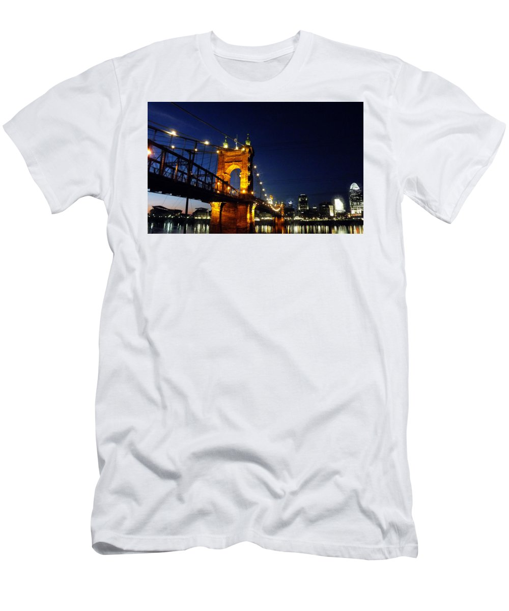 Cincinnati Men's T-Shirt (Athletic Fit) featuring the photograph Cincinnati In Lights by Glenna Oliver