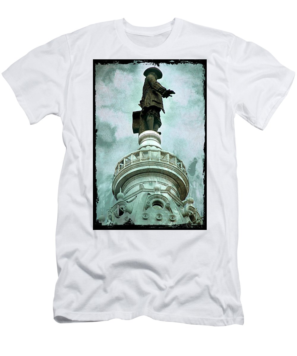 Billy Penn Men's T-Shirt (Athletic Fit) featuring the photograph City Hall Billy by Alice Gipson