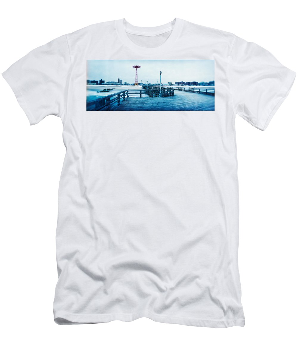 Photography Men's T-Shirt (Athletic Fit) featuring the photograph City In Winter, Coney Island, Brooklyn by Panoramic Images