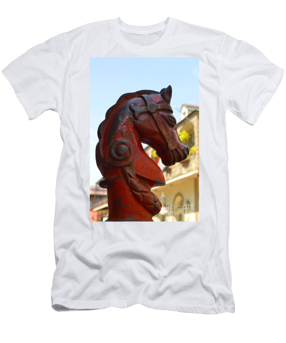 French Quarter Men's T-Shirt (Athletic Fit) featuring the photograph Classic Red Horsehead Post by Alys Caviness-Gober