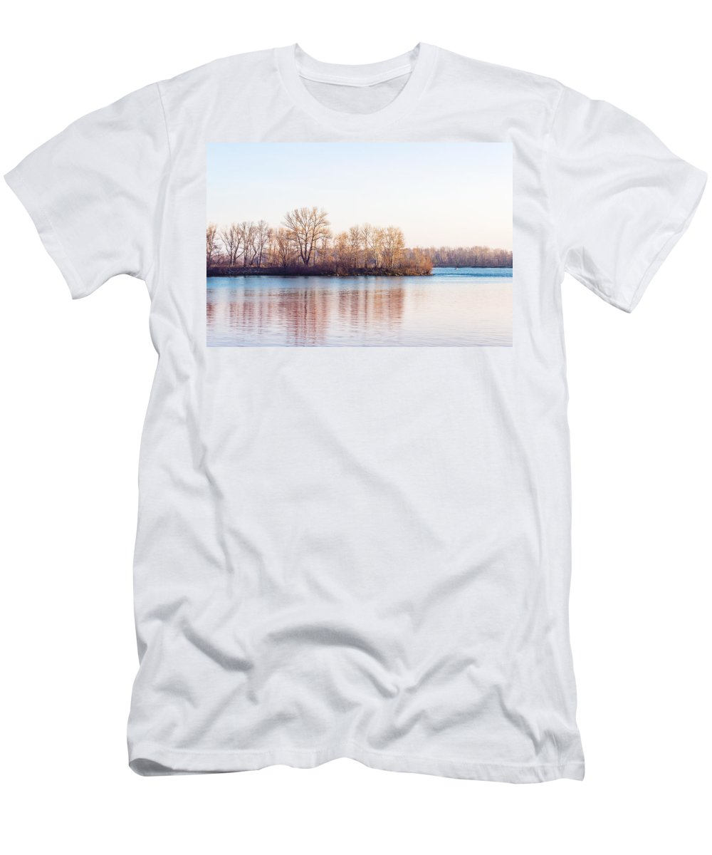 Dnieper Men's T-Shirt (Athletic Fit) featuring the photograph Clear Morning On The River by Alain De Maximy