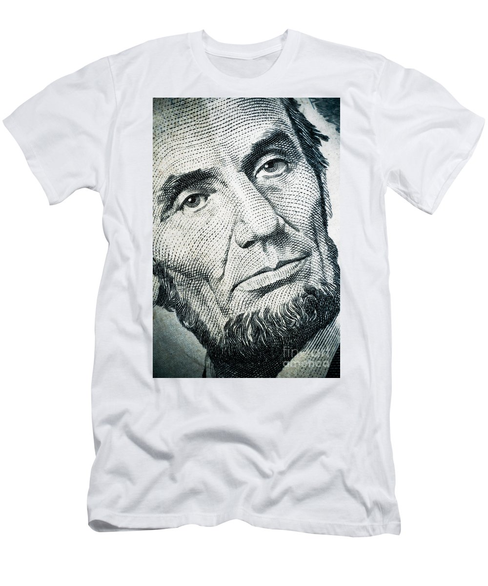 Abe Men's T-Shirt (Athletic Fit) featuring the photograph Closeup Of A Five Dollar Bill by Amy Cicconi