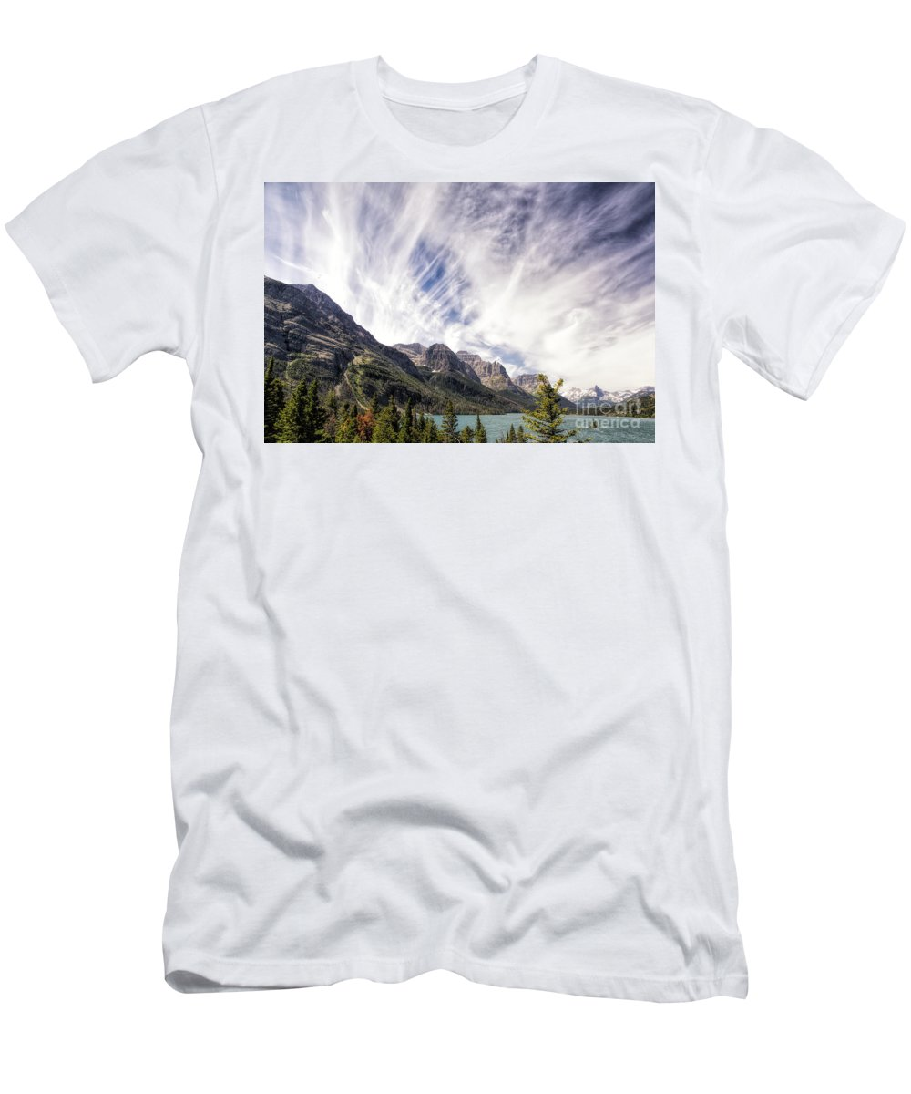 Glacier Men's T-Shirt (Athletic Fit) featuring the photograph Cloud Formation At Saint Mary Lake by Timothy Hacker