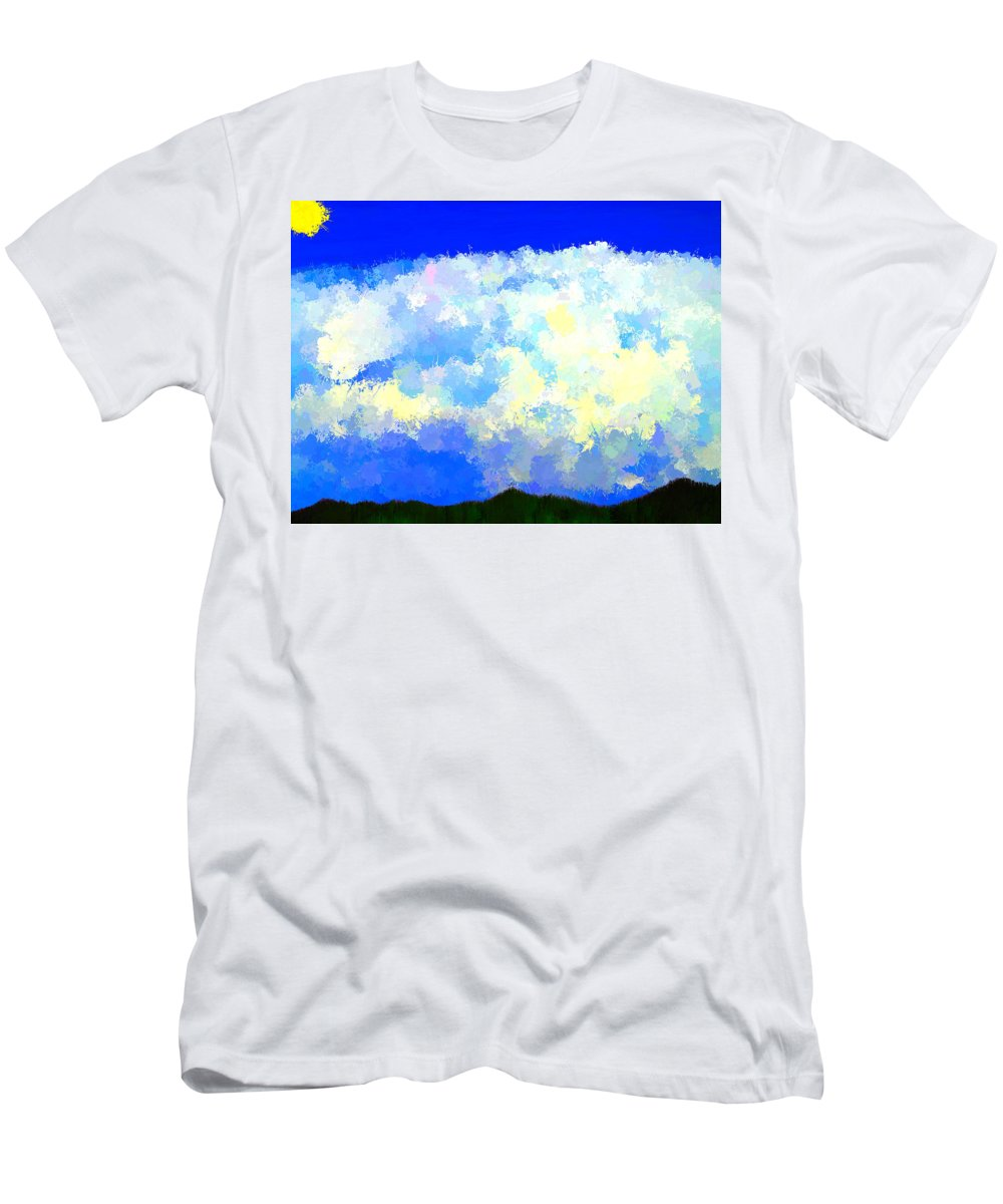 Clouds Men's T-Shirt (Athletic Fit) featuring the painting Clouds Overhead by Bruce Nutting