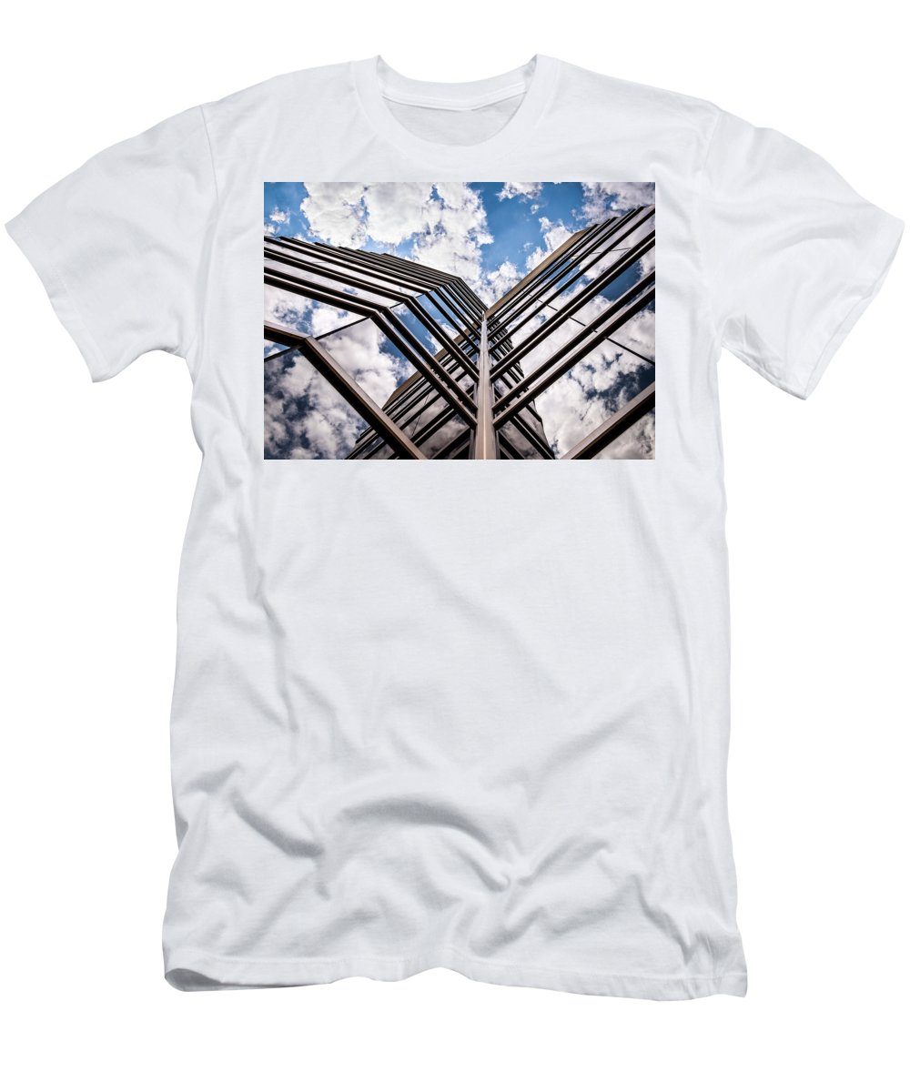 Canton Michigan Usa Men's T-Shirt (Athletic Fit) featuring the photograph Cloudy Building by Onyonet Photo Studios