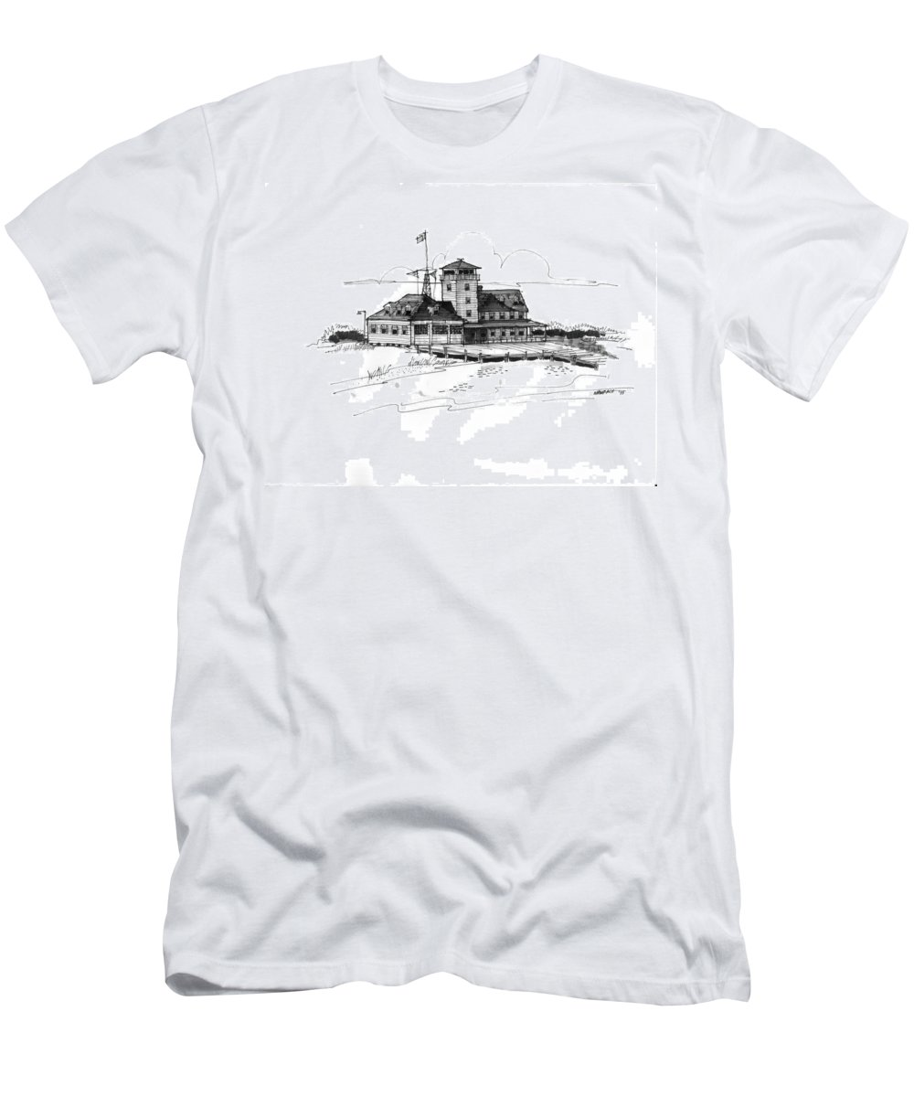 Coast Guard Stations Men's T-Shirt (Athletic Fit) featuring the drawing Coast Guard Station 2 Ocracoke 1970s by Richard Wambach