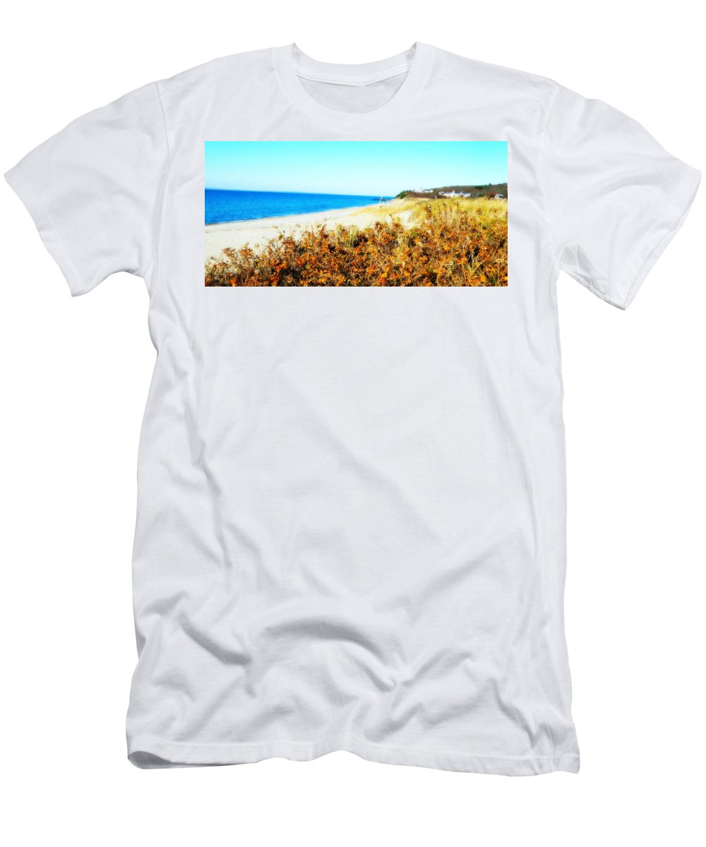 Beach Men's T-Shirt (Athletic Fit) featuring the photograph Coastal Lookout by Kathy Barney