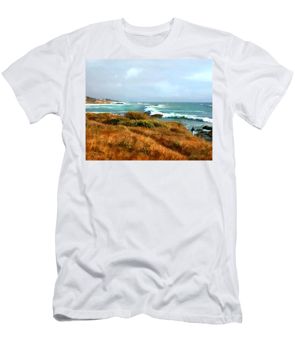 Landscape Men's T-Shirt (Athletic Fit) featuring the painting Coastal Waves Roll In To Shore by Elaine Plesser