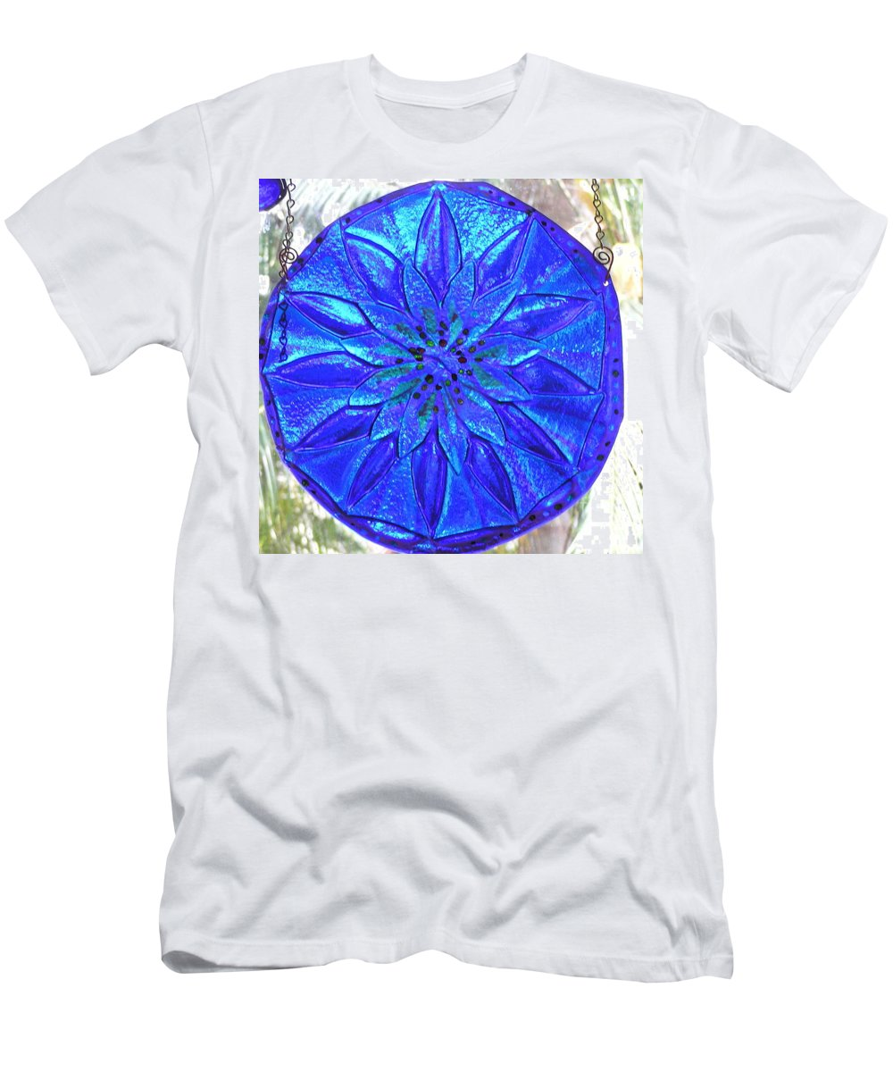 Glass Men's T-Shirt (Athletic Fit) featuring the photograph Cobalt Mandala by Donna Spencer