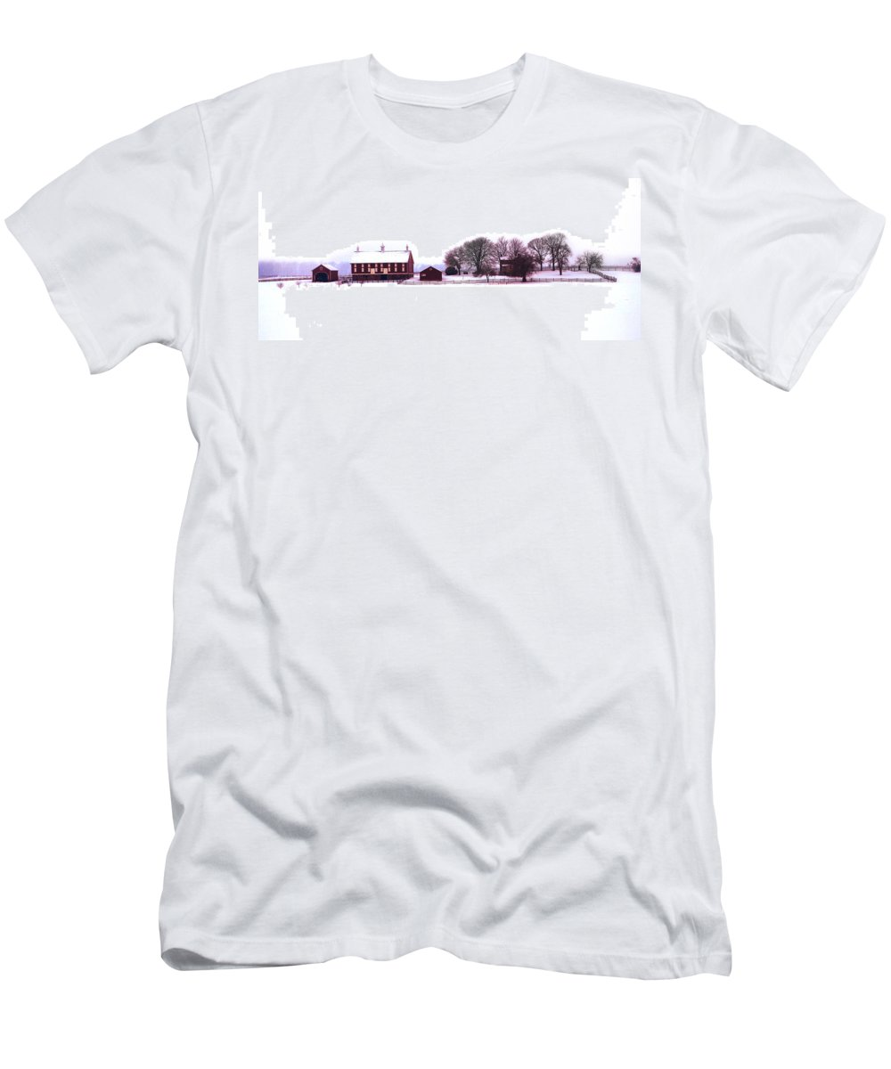 Codori Men's T-Shirt (Athletic Fit) featuring the photograph Codori Farm At Gettysburg In Winter by Bill Cannon
