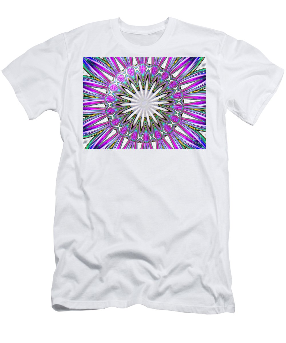Lily Men's T-Shirt (Athletic Fit) featuring the photograph Colored Foil Lily Kaleidoscope Under Glass by Rose Santuci-Sofranko