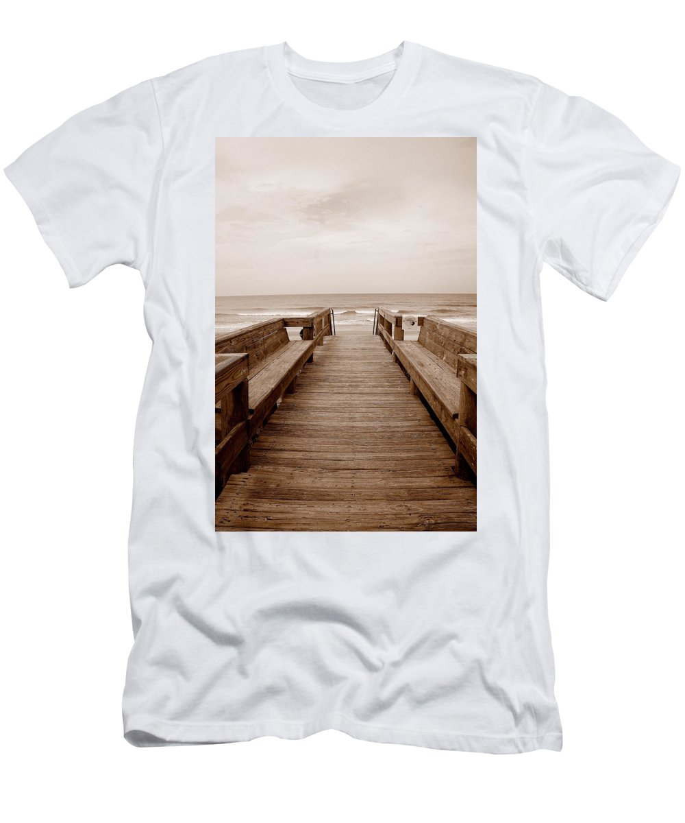Daytona Beach Men's T-Shirt (Athletic Fit) featuring the photograph Colorless Seascape by Laurie Perry