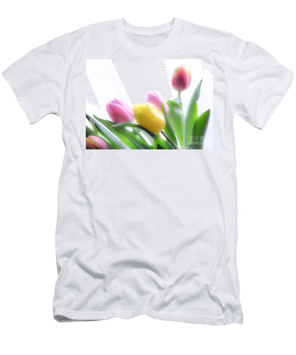 Tulips Men's T-Shirt (Athletic Fit) featuring the photograph Colourful Tulips That Are Digitally Softened by Kerstin Ivarsson